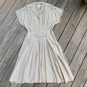 Vintage Taupe Midi Dress with Floral Cutouts